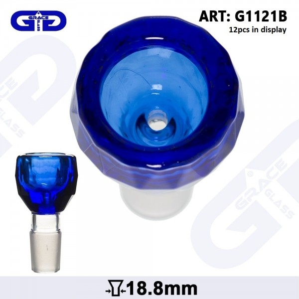Grace Glass | Blue- SG:18.8mm (Inner Hole 3.5mm)- With Diamond Cut - 12pcs in a display
