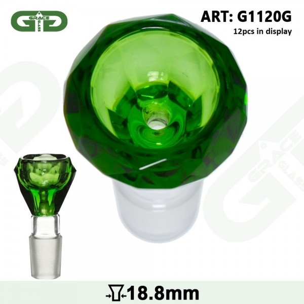 Grace Glass | Bowl Green- SG:18.8mm (Inner Hole 3.5mm) - With Diamond Cut - 12pcs in a display