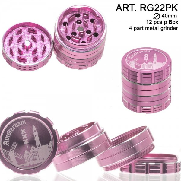 Dope Bros | Amsterdam: 4 Part Metal Grinder (Pink) : Ø 40mm. 12 pcs/box