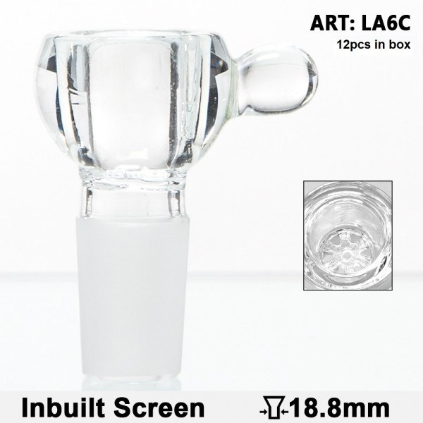 Grace Glass | Glass Bowl with a glass bead - SG:18.8mm - inbuilt glass screen - 12pcs in a display
