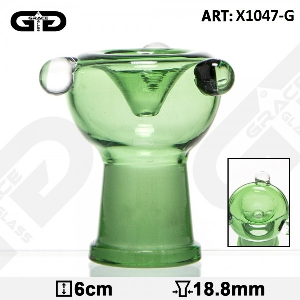 Grace Glass | 3 point Glass Bowl-Green-SG:18.8mm-(Female)