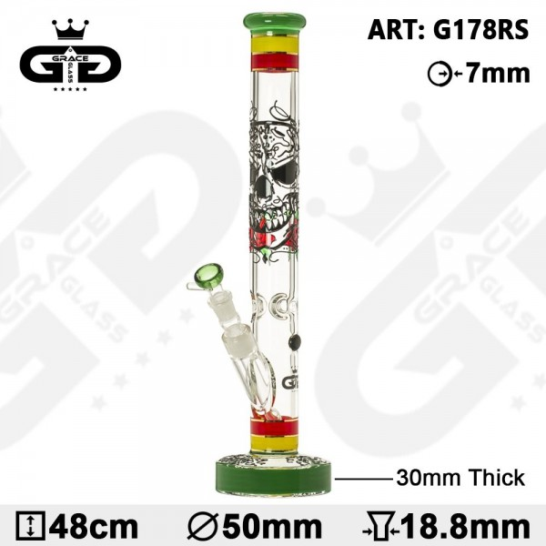 Grace Glass | HAMMER Series |The Rasta skull green