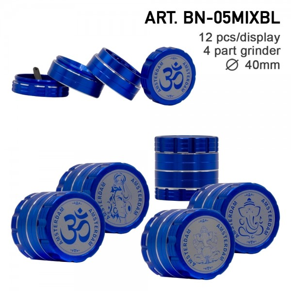 Grace Glass Ganash Blue | Grinder- 4part- Ø:40mm- 12pcs/box